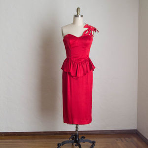 Vintage 80's Red One Strap Party Dress